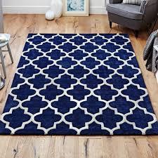 arabesque moroccan pattern wool rug blue 120 x 170 cm 4 x