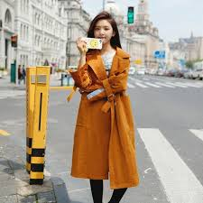 spring autumn double ted trench coat turn down collar casual yellow trench coat women solid long