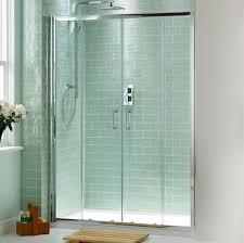 dazzling sliding shower door design with small wooden deck
