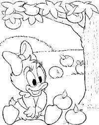 Baby Cartoon Apple Coloring Page Daisy Duck In Tree Best Free