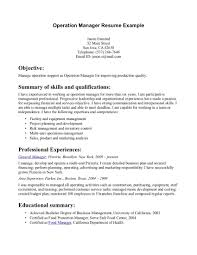 Operations Manager Resume Summary Resume For Study