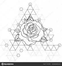 чёрная тату флэш памяти роза цветок за сакральной геометрии очень