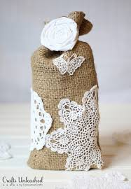 Burlap crafts gift bag