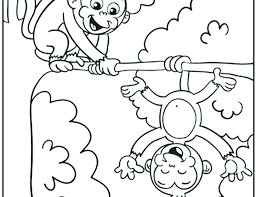 Cute Monkey Coloring Pages Printable Cartoon Color 5 Little Monkeys