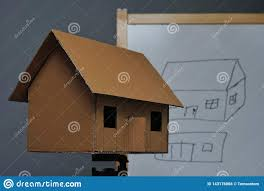 Illustration Board House Design A Cardboard House Stock Photo Image Of Happiness Estate