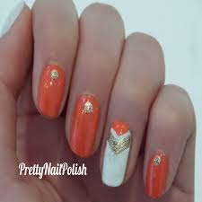 Lovely Coral and White Nail Designs