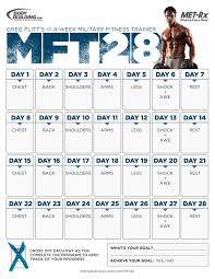 Military Workout Chart Mft28 Greg Plitts 4 Week Military Fitness Trainer By Met