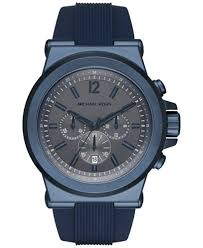 michael kors men s chronograph dylan blue silicone strap watch michael kors men s chronograph dylan blue silicone strap watch 48mm mk8493