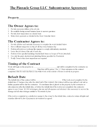 Subcontractor Agreement Format Subcontractor Agreement Document Form Ontario Janitorial California