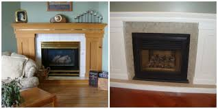fireplace update ideas with stoneskin tile and painting the brass