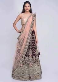 Designer Net Dupatta Online Burgundy Lehenga Choli In Velvet With Blush Pink Net Dupatta Online Kalki Fashion