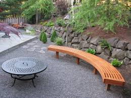 picture of curved garden bench from cedar laminations