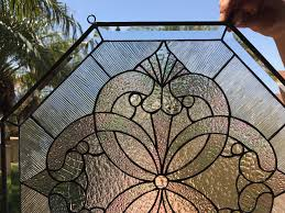 octagon windsor beautiful clear textured leaded stained glass window panel