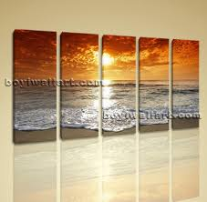 Hd Canvas Print 5 Pieces Framed Beach Wall Art Sunset Seascape Sea  For  Beach Wall
