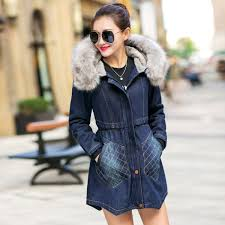 fashion casual big faux fur hooded thick warm outwear new winter coat denim jackets women long