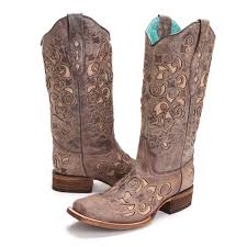 corral womens jute inlay square toe cowboy boots brown