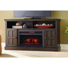 home decorators collection elmhurst 60 in media console infrared electric fireplace tv stand in brown