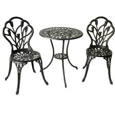 bistro set 3 piece outdoor tulip metal table and chair furniture antique design