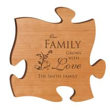 on personalized wood wall art with our family grows with love personalized wood puzzle wall art