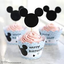 Free Shipping Mickey Mouse Cupcake Wrappers Toppers Cake Picks