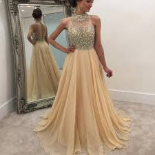 2017 High Neck Rhinestone Open Back Long A Line Prom Dresses