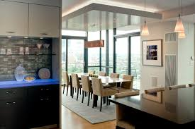 dropped ceiling lighting. Example Of A Large Trendy Medium Tone Wood Floor Dining Room Design In Boston Dropped Ceiling Lighting L