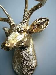 faux animal heads wall mounted awesome head decor gold deer mount wooden awe animal heads on wall mounted