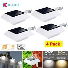 Solar Power Light Sensor 6 <b>LED Gutter</b> Light <b>Outdoor</b> Wall Roof ...