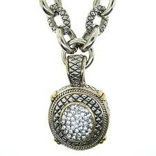 designer inspired gourgous pave necklace with cable del