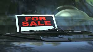 For Sale Sign On Car For Sale Sign In A Car Window Rack Focus Stock Video Footage