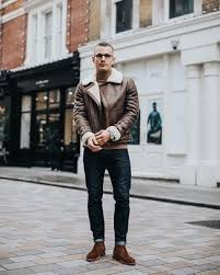 A funky blue suede chelsea boot with red uber cool mens black chelsea brogue boots in fine leather. Brown Suede Chelsea Boots With Dark Brown Shearling Jacket Outfits For Men 10 Ideas Outfits Lookastic