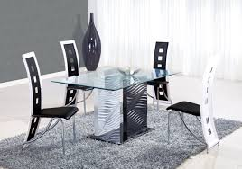 Italian Glass Dining Table Modern Rectangular Solid Glass Dining Table With Black Chairs And