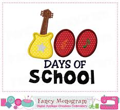 100 Days Of School Applique Design 100 Days Of School Back To School Guitar Applique School
