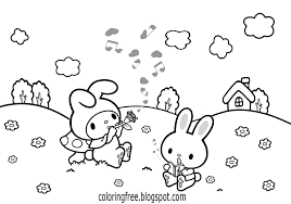 draw simple o kitty coloring sheets free cute bunny rabbit flower meadow printables for age s