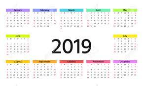 2019 Calendar Horizontal 2019 Calendar In Simple Style Week Starts Sunday Vector