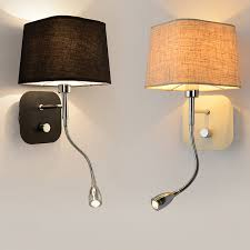 hotel bedside wall sconce with led reading light bedroom night fabric shade modern switch bedside lamps w86