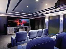 Interior:Amazing Home Theater Room With Two Level Seating Complete With  Mounted Screen Unit Modern