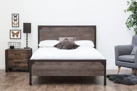industrial metal bed frame. Simple Metal Marlow Rustic Metal Industrial Wood Panel Bed Frame  DoubleKing Size  Throughout S
