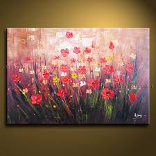chic design poppy wall art designs decor blossom iv modern canvas fl oil painting with stretched frame ready to hang metal