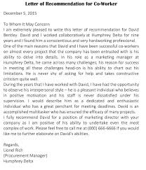 Writing A Reference Letter For A Coworker Sample Letter Of Recommendation For Co Worker 18 Sample Letters