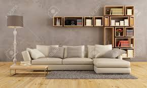 Living Room Bookcase Living Room With Elegant Sofa And Wall Bookcase Rendering Stock