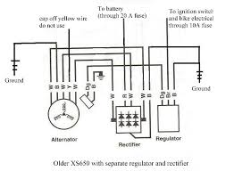 xs650 chopper wiring diagrams modified chopper charging system circuit separate regulator rectifier