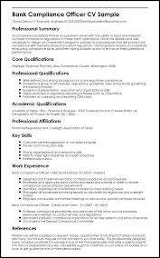 Example Of Resume Qualifications Bank Compliance Officer Sample