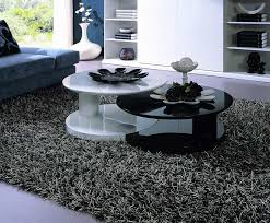 white and black round coffee table