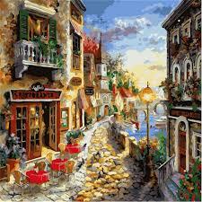 <b>WEEN</b> Paris <b>Diy</b> Painting By Numbers Abstract Rainy <b>Street</b> Oil ...