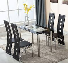 glass dining room table with leather chairs. 5 piece glass dining table set 4 leather chairs kitchen room breakfast furniture with l
