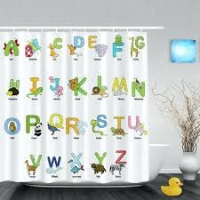kid shower curtains cartoon animals alphabet letters kids shower cute children bathroom curtains polyester waterproof fabric kid shower curtains