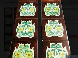 art nouveau fireplace tiles in china brown