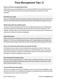 Example Of Management Skills Time Management Tips Worksheet Therapy Techniques Management