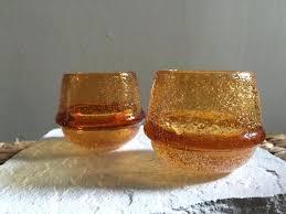 image 0 orange candle holders carnival glass hand blown tea light